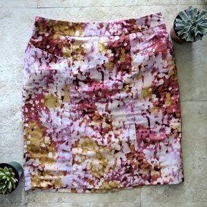 LOFT floral watercolor pencil skirt